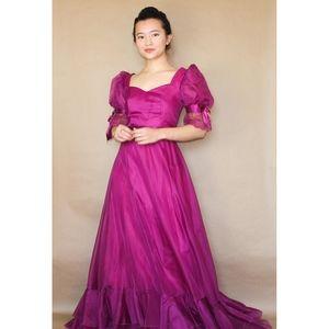 vtg 70s fuchsia maxi prom dress